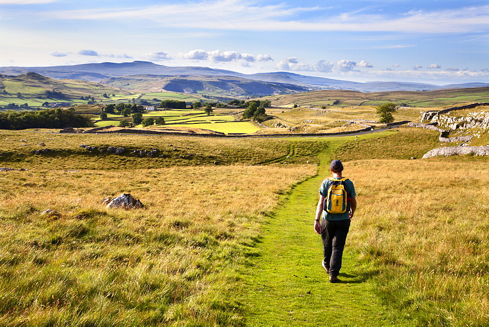 Walker on a Public Footpath approaching Winskill Stones, Yorkshire, England, United Kingdom, Europe - 845-976