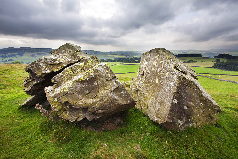 Split stone at Norber, Yorkshire, England, United Kingdom, Europe - 845-980