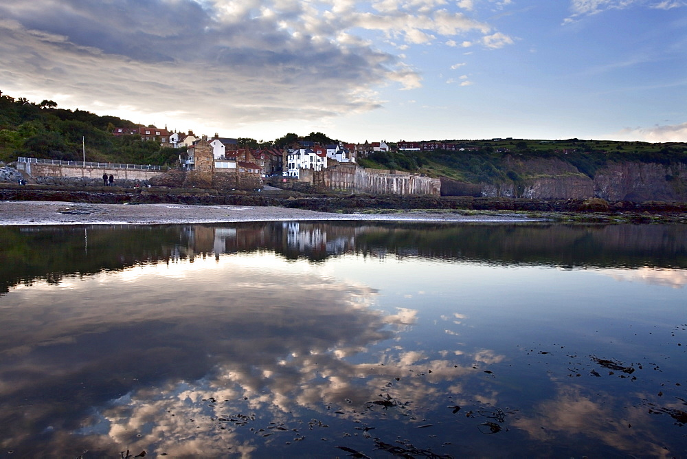 Clearing rain clouds at Robin Hoods Bay, Yorkshire, England, United Kingdom, Europe - 845-998