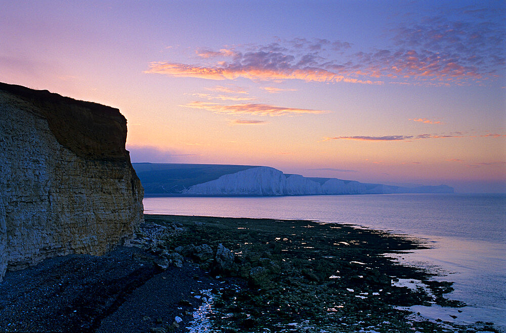 View of Seven Sisters cliffs at sunrise, Seaford, East Sussex, England, United Kingdom, Europe - 846-1106
