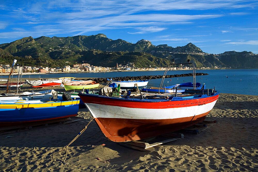 Fishing boats on beach, Giardini Naxos, Sicily, Italy, Mediterranean, Europe - 846-169