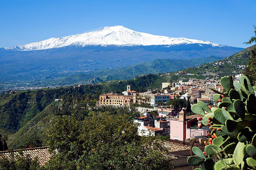 View over Taormina and Mount Etna, Taormina, Sicily, Italy, Europe - 846-246