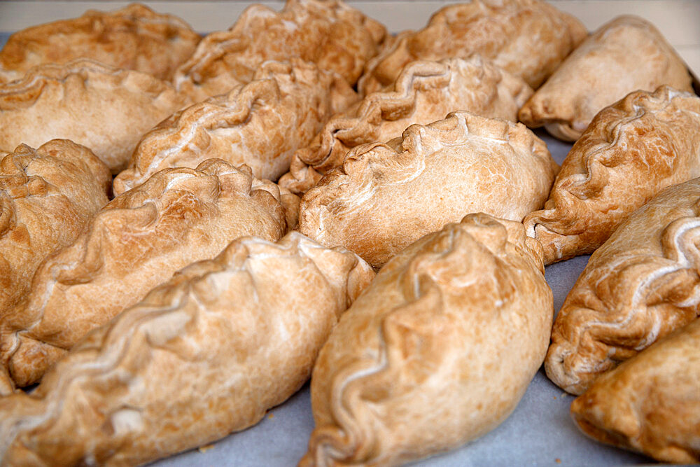 Traditional Cornish pasties in bakery window, St. Ives, Cornwall, England, United Kingdom, Europe