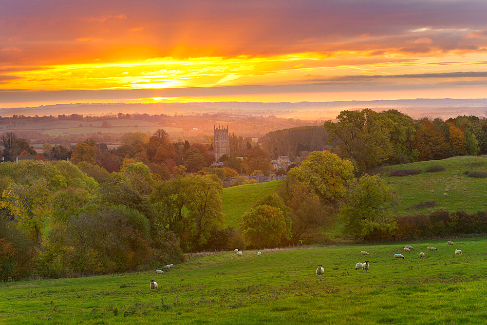 Cotswold countryside and St. James Church at dawn, Chipping Campden, Cotswolds, Gloucestershire, England, United Kingdom, Europe
