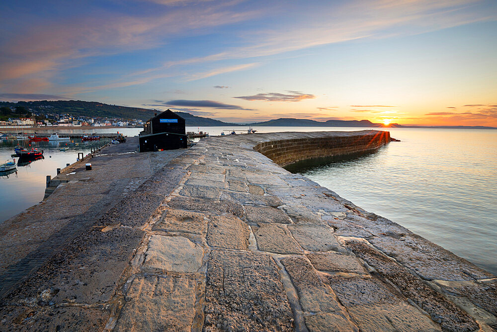 The Cobb with the cliffs of Jurassic Coast at sunrise, Lyme Regis, Dorset, England, United Kingdom, Europe - 846-2772