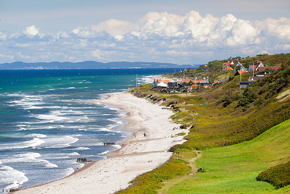 View over Rageleje Strand beach with Swedish coastline in distance, Rageleje, Kattegat Coast, Zealand, Denmark, Scandinavia, Europe