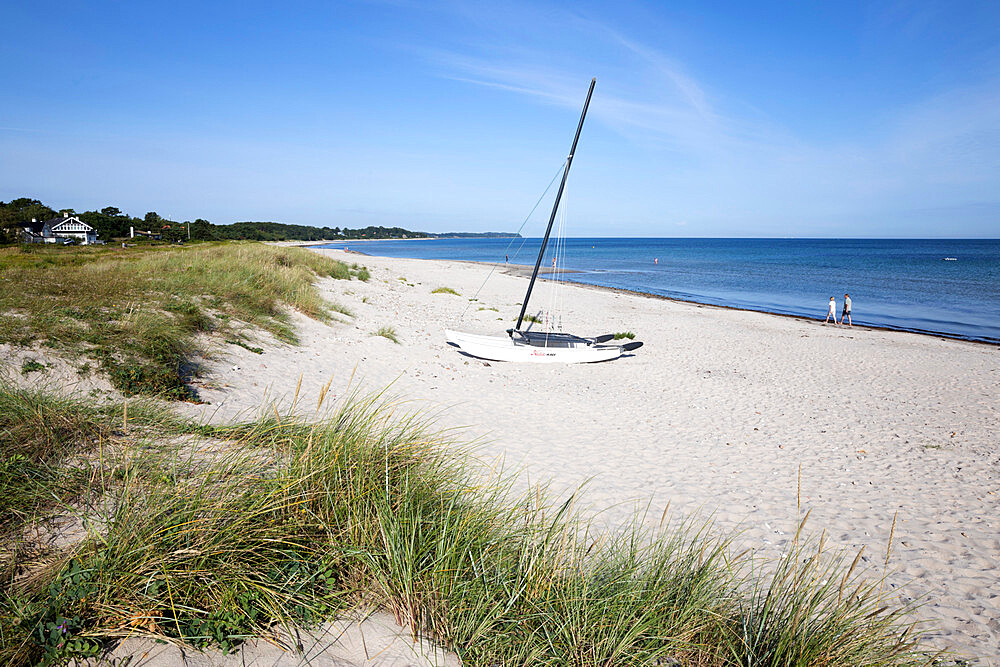 Hornbaek beach with white sand and sand dunes, Hornbaek, Kattegat Coast, Zealand, Denmark, Scandinavia, Europe
