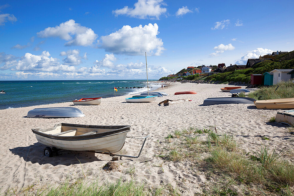 Boats on white sand beach and town behind, Tisvilde, Kattegat Coast, Zealand, Denmark, Scandinavia, Europe - 846-2788