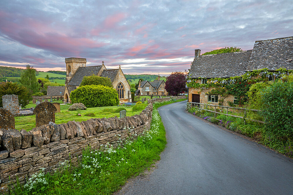 St. Barnabas church and Cotswold stone cottages at dawn, Snowshill, Cotswolds, Gloucestershire, England, United Kingdom, Europe - 846-2798
