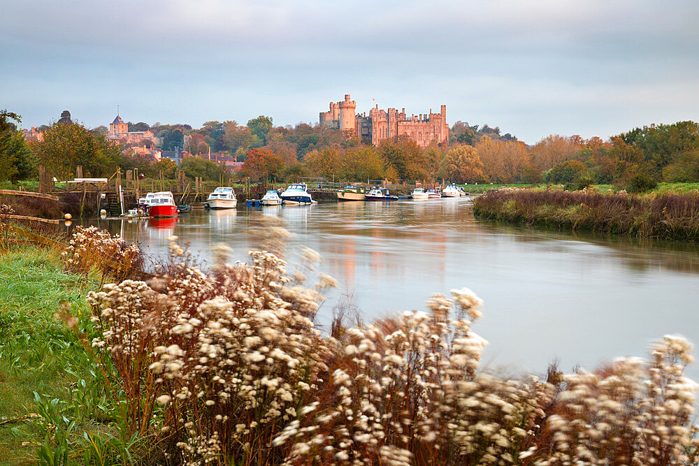 Arundel Castle on the River Arun at sunrise in autumn, Arundel, West Sussex, England, United Kingdom, Europe - 846-2799
