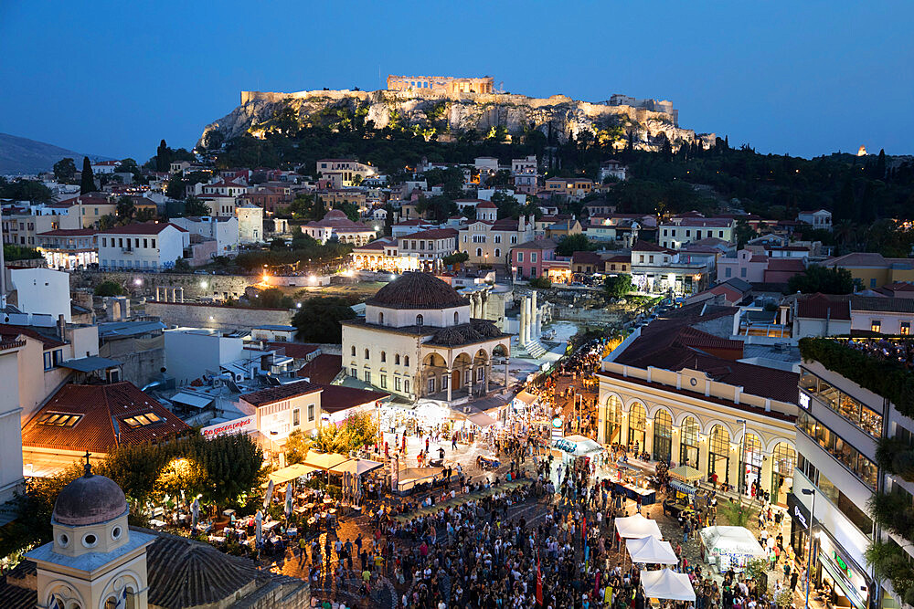 Monastiraki Square with music concert and the Acropolis from roof of A for Athens hotel at night, Monastiraki, Athens, Greece - 846-2836