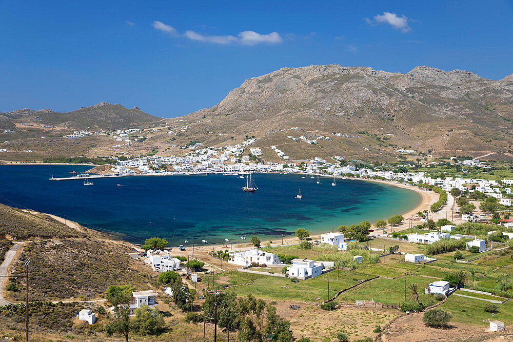 View over Livadi Bay, Serifos, Cyclades, Aegean Sea, Greek Islands; Greece; Europe