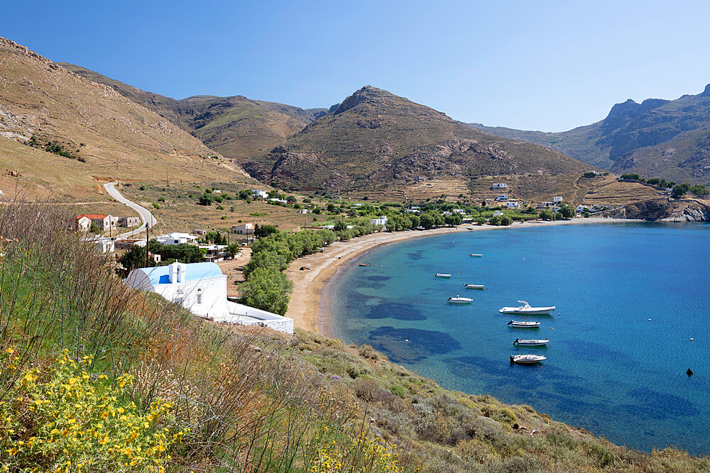 View over Koutalas bay and beach on island's south east coast, Serifos, Cyclades, Aegean Sea, Greek Islands, Greece, Europe