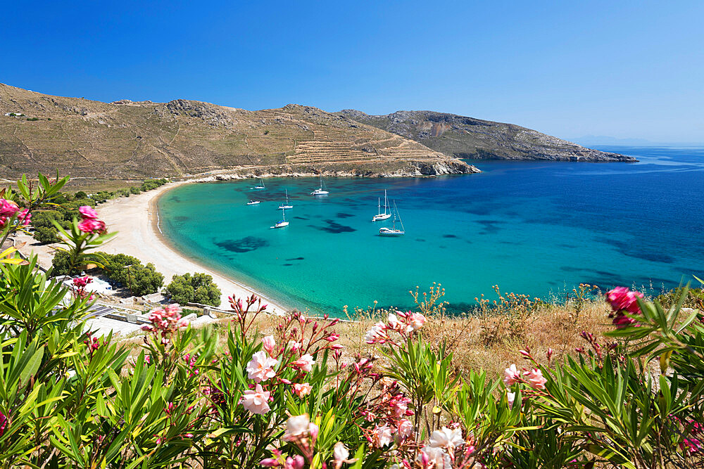 View over Ganema beach on island's south coast, Serifos, Cyclades, Aegean Sea, Greek Islands, Greece, Europe - 846-2840