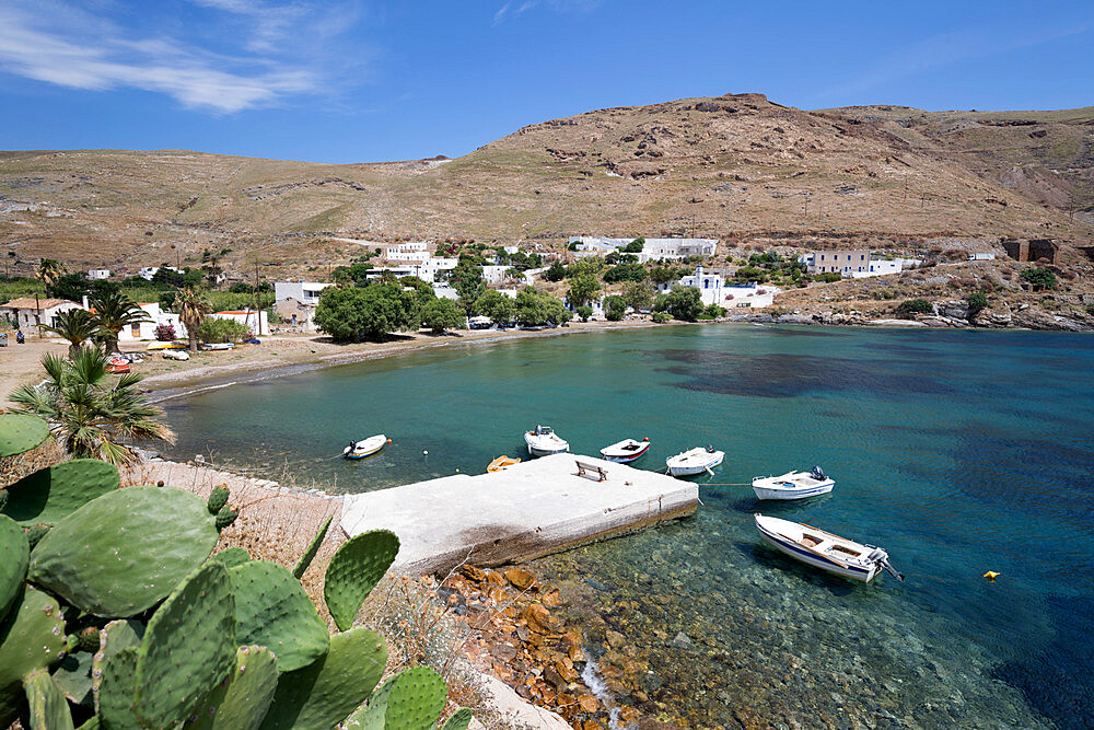View over Megalo Livadi on island's west coast, Serifos, Cyclades, Aegean Sea, Greek Islands, Greece, Europe