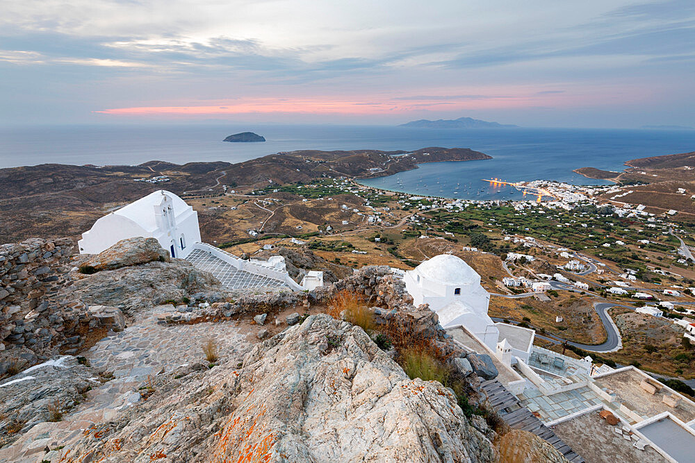View of Livadi Bay and white Greek Orthodox churches from atop Pano Chora, Serifos, Cyclades, Aegean Sea, Greek Islands, Greece - 846-2848