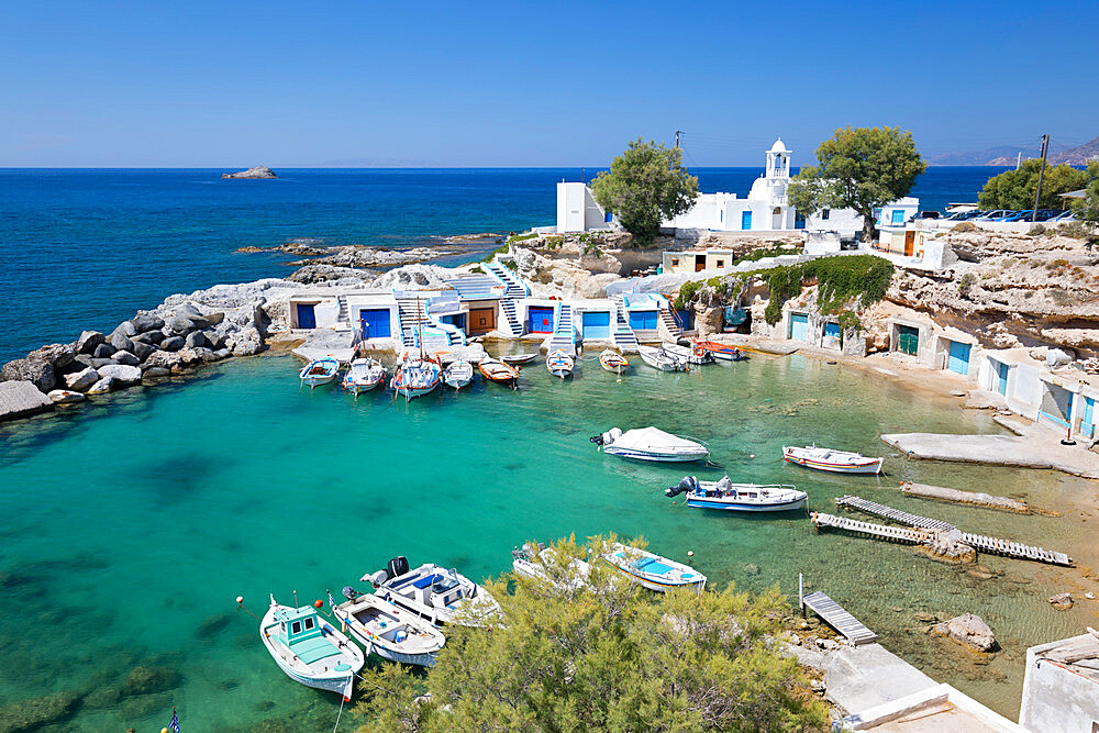 View over fishing harbour with boats and colourful boat houses, Mandrakia, Milos, Cyclades, Aegean Sea, Greek Islands, Greece, Europe - 846-2897