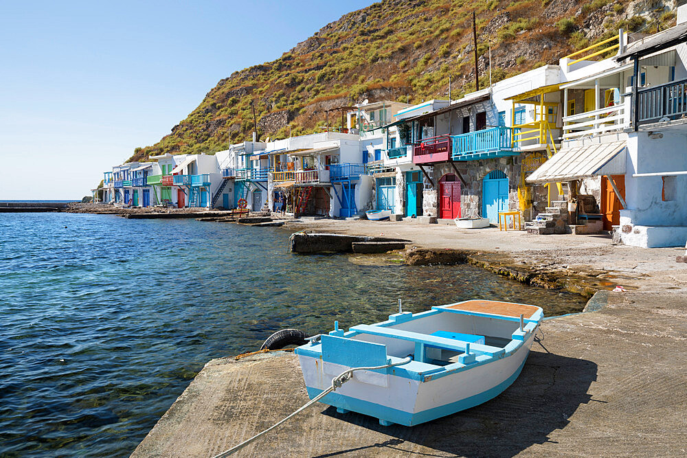 Colourful fishermen's boat houses, Klima, Milos, Cyclades, Aegean Sea, Greek Islands, Greece, Europe