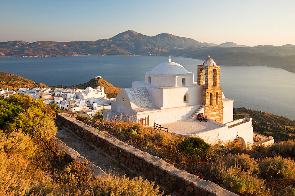 View of Plaka with Greek Orthodox church and Milos Bay from Plaka Castle, Milos, Cyclades, Aegean Sea, Greek Islands; Greece