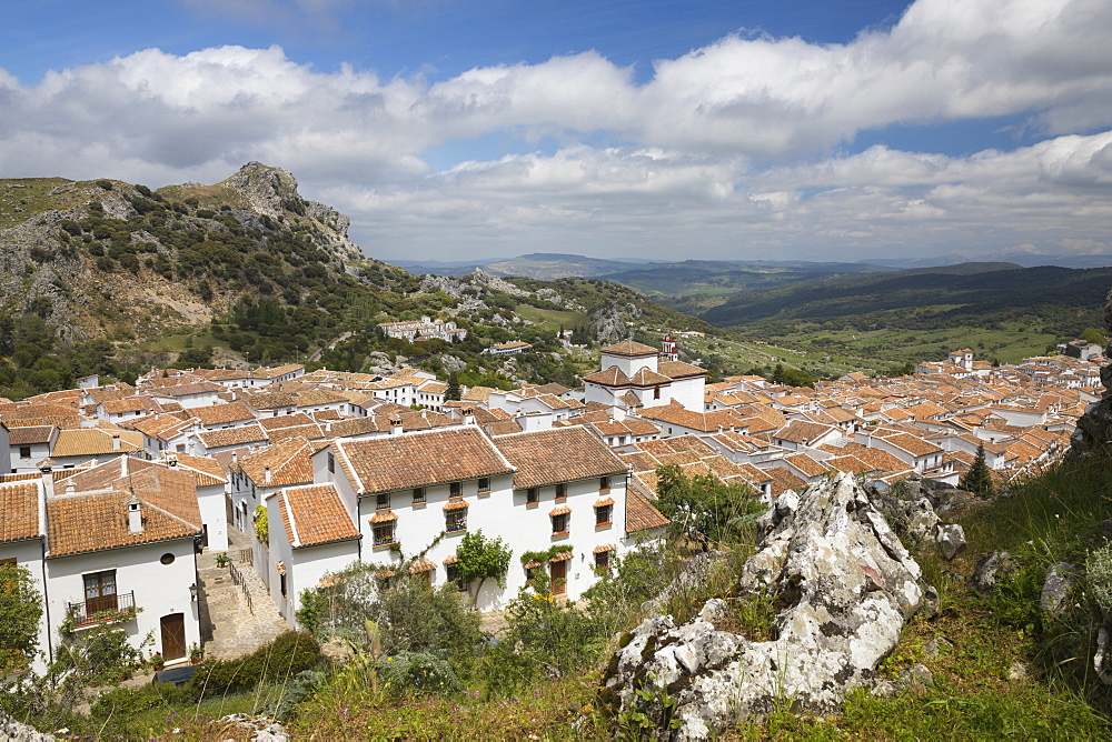 View over Andalucian white village, Grazalema, Sierra de Grazalema Natural Park, Andalucia, Spain, Europe - 846-2942