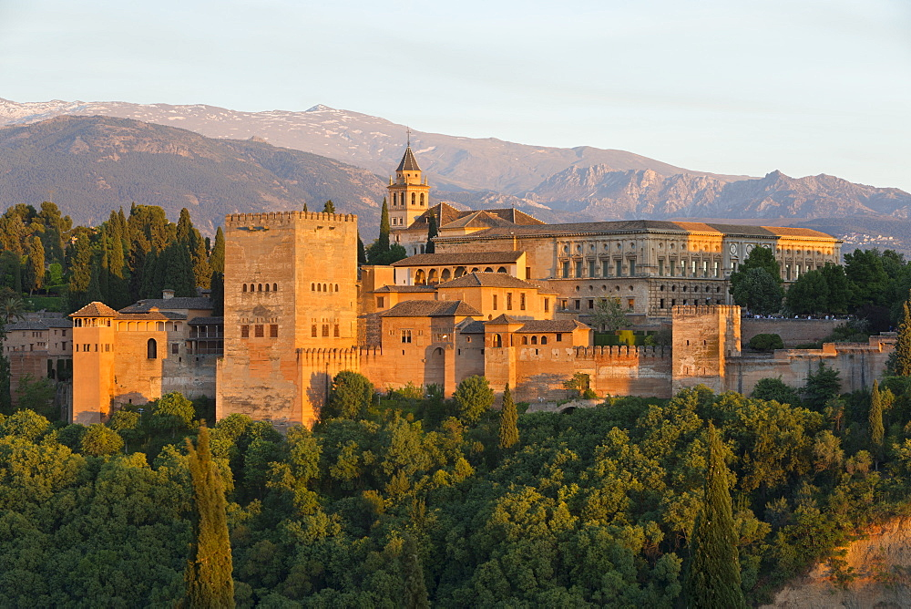 The Alhambra, UNESCO World Heritage Site, and Sierra Nevada mountains in evening light from Mirador de San Nicolas, Granada, Andalucia, Spain, Europe - 846-2962