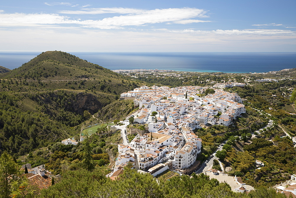 View over white Andalucian village to the sea, Frigiliana, Malaga Province, Costa del Sol, Andalucia, Spain, Europe - 846-2967