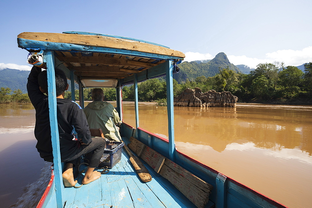 Boat trip on the Nam Ou River near Nong Khiaw, Muang Ngoi District, Luang Prabang Province, Northern Laos, Laos, Indochina, Southeast Asia, Asia