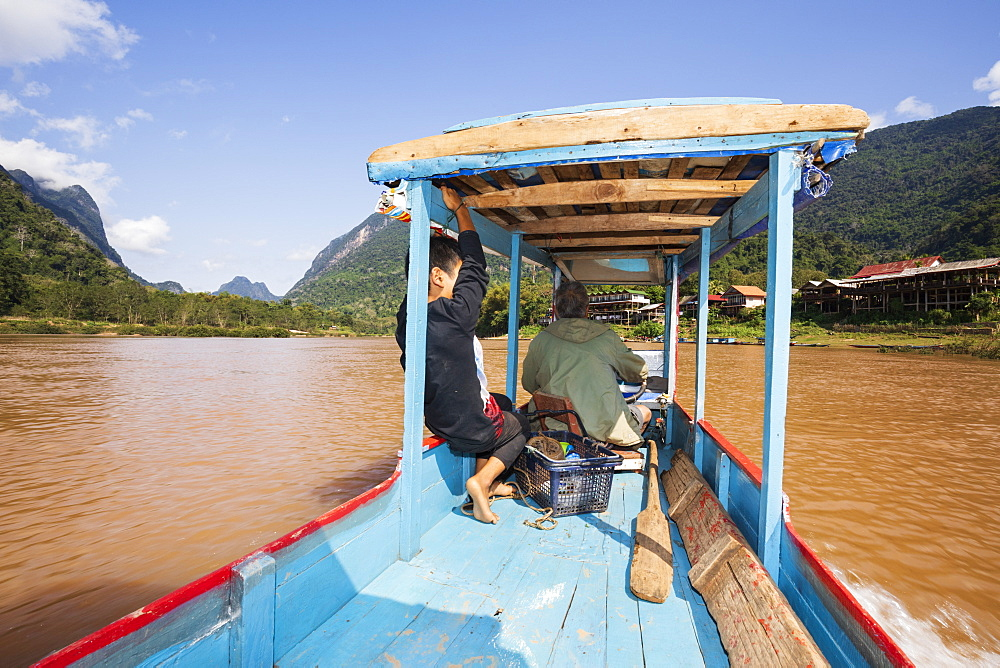 Boat trip on the Nam Ou River looking north at Muang Ngoi Neua, Luang Prabang Province, Northern Laos, Laos, Indochina, Southeast Asia, Asia