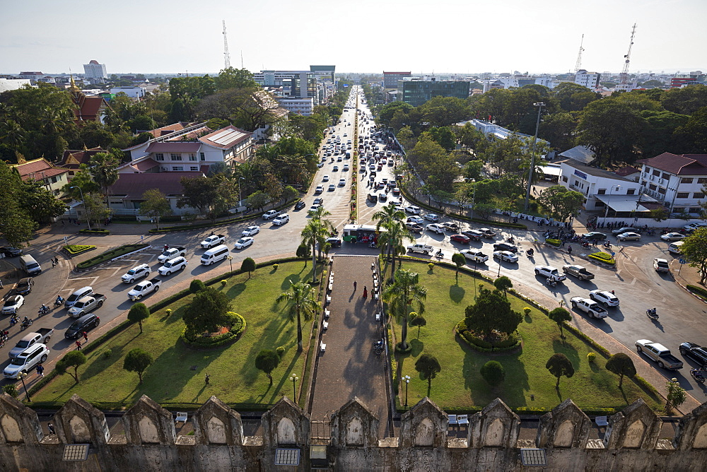 Lane Xang Avenue viewed from top of the Patuxai Victory Monument (Vientiane Arc de Triomphe), Vientiane, Laos, Indochina, Southeast Asia, Asia - 846-2992