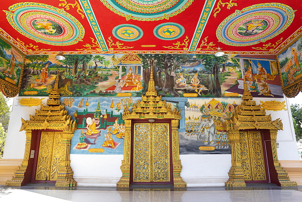 Murals and golden doors at the entrance of the Wat Inpeng Buddhist temple, Rue Samsenthai, Vientiane, Laos, Indochina, Southeast Asia, Asia - 846-2993