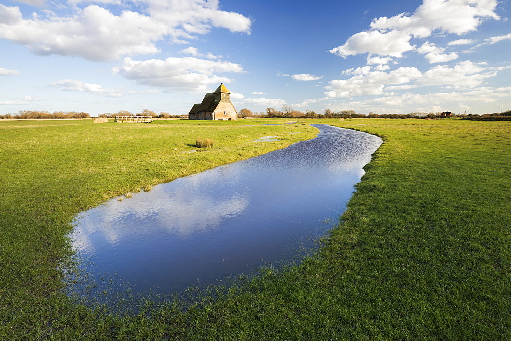 St. Thomas a Becket Church on Romney Marsh in afternoon sunlight, Fairfield, Kent, England, United Kingdom, Europe - 846-3008