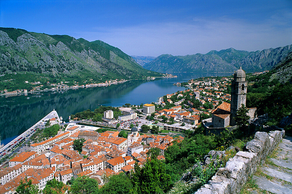 View over old town and bay from fortress of St. Ivan, Kotor, UNESCO World Heritage Site, The Boka Kotorska (Bay of Kotor), Montenegro, Europe - 846-345