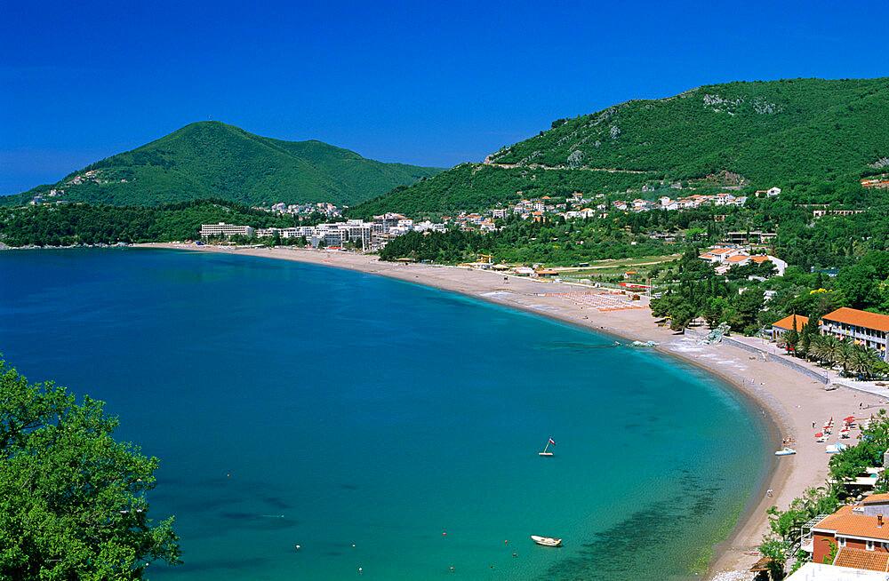 View over resort and beach, Rafailovici, The Budva Riviera, Montenegro, Europe - 846-362