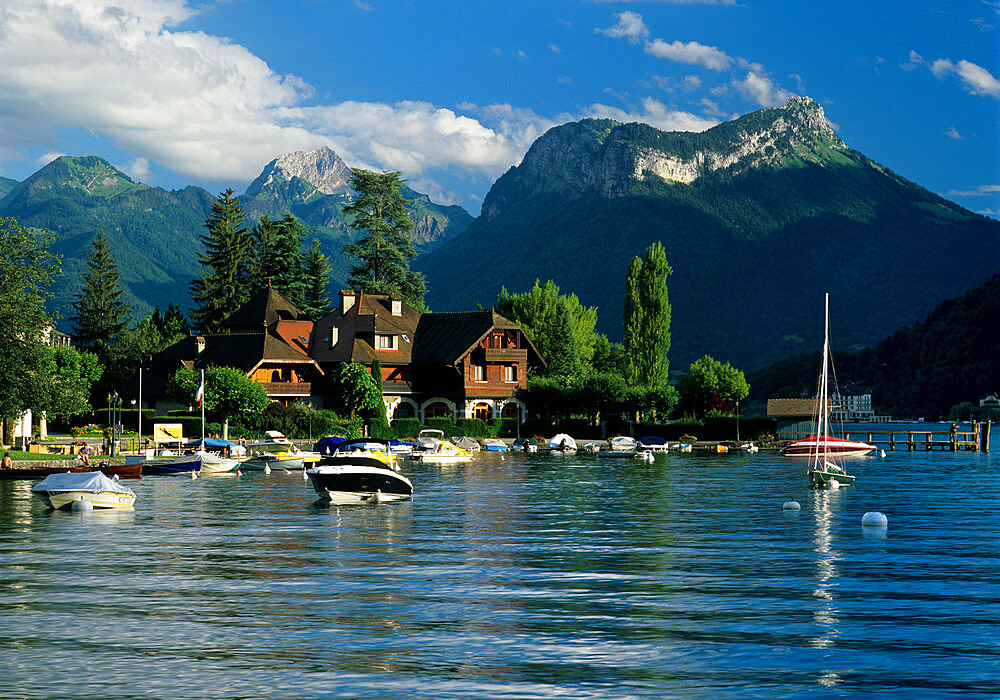 Harbour and Auberge Pere Bis, Talloires, Lake Annecy, Rhone Alpes, France, Europe - 846-545
