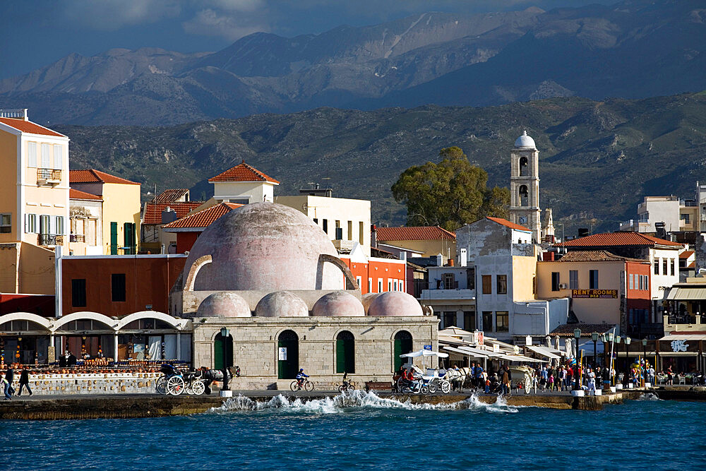 View over Venetian Harbour to Mosque of the Janissaries, Chania (Hania), Chania region, Crete, Greek Islands, Greece, Europe - 846-558