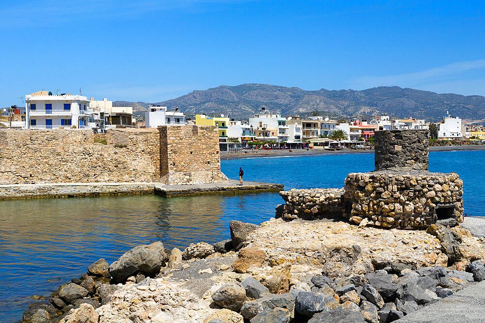 Sea front and Venetian fortress, Ierapetra, Lasithi region, Crete, Greek Islands, Greece, Europe - 846-584