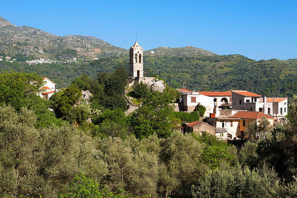 Venetian clocktower and village, Amari, near Spili, Rethimnon (Rethymno) region, Crete, Greek Islands, Greece, Europe - 846-587