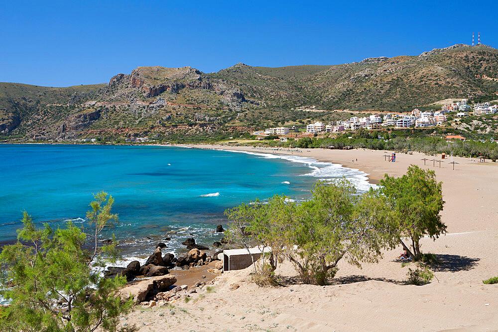 Beach view, Paleohora, Chania region, Crete, Greek Islands, Greece, Europe - 846-594