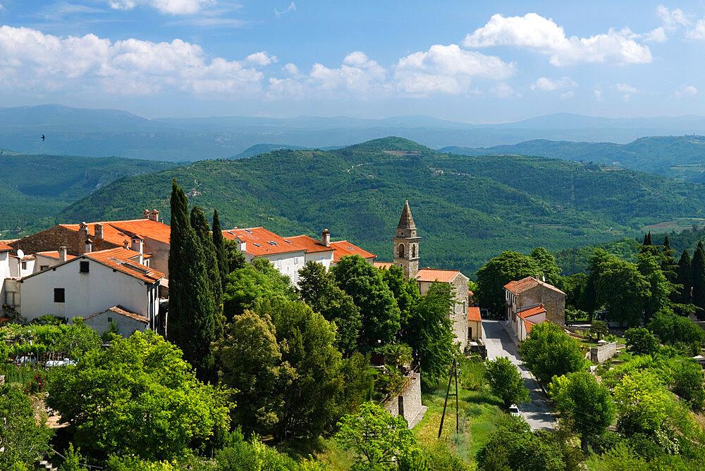 View from town walls, Motovun, Istria, Croatia, Europe - 846-637