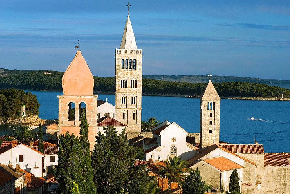 View over campaniles of old town, Rab Town, Rab Island, Kvarner Gulf, Croatia, Adriatic, Europe - 846-675