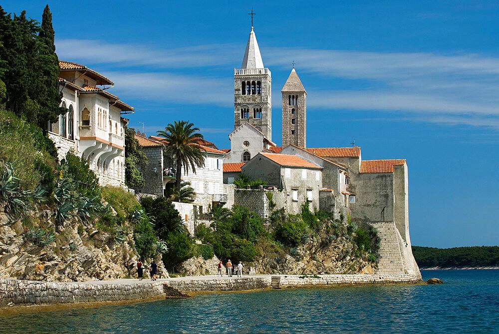 View of old town and campaniles, Rab Town, Rab Island, Kvarner Gulf, Croatia, Adriatic, Europe - 846-686