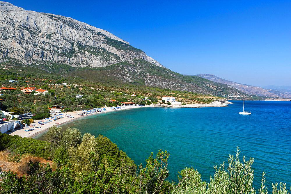 Limnionas beach and Mount Kerketeas, Samos, Aegean Islands, Greece, Europe - 846-853