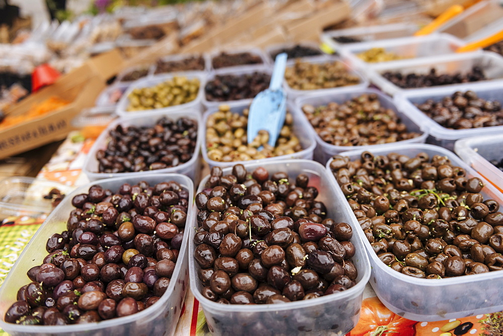 Olives at Market, Kotor, Bay of Kotor, Montenegro, Europe