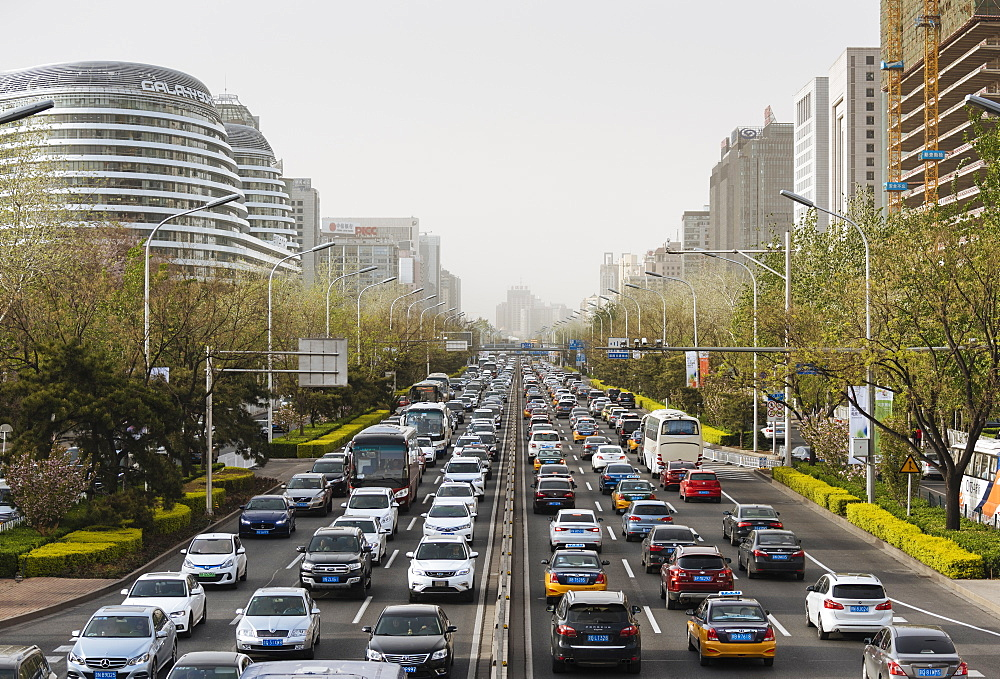 Congested traffic on main road in central Beijing, China, Asia