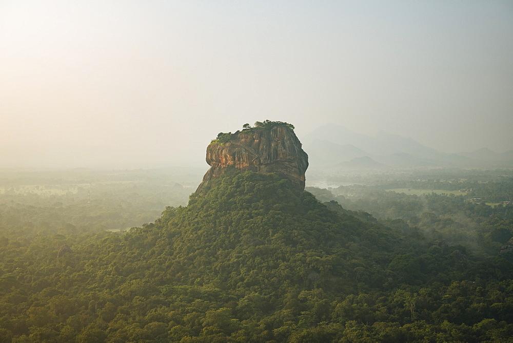 View of Sigiriya from Pidurangula at dawn, Central Province, Sri Lanka, Asia