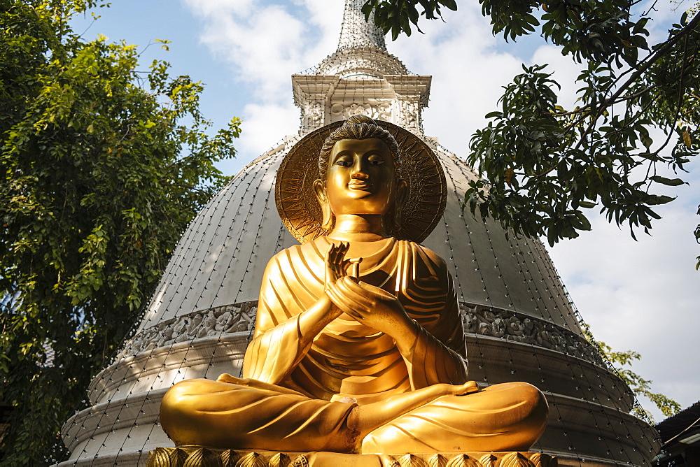 Buddha statue, Gangaramaya Temple, Colombo, Western Province, Sri Lanka, Asia