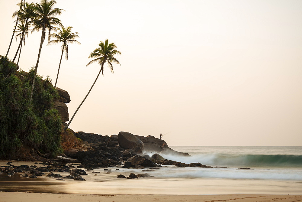 Talalla Beach at dusk, South Coast, Sri Lanka, Asia