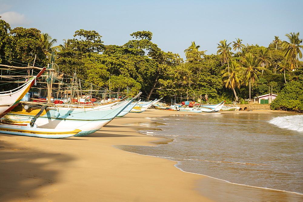 Fishing boats on Devinuwara Beach, Dondra, South Coast, Sri Lanka, Asia - 848-1823