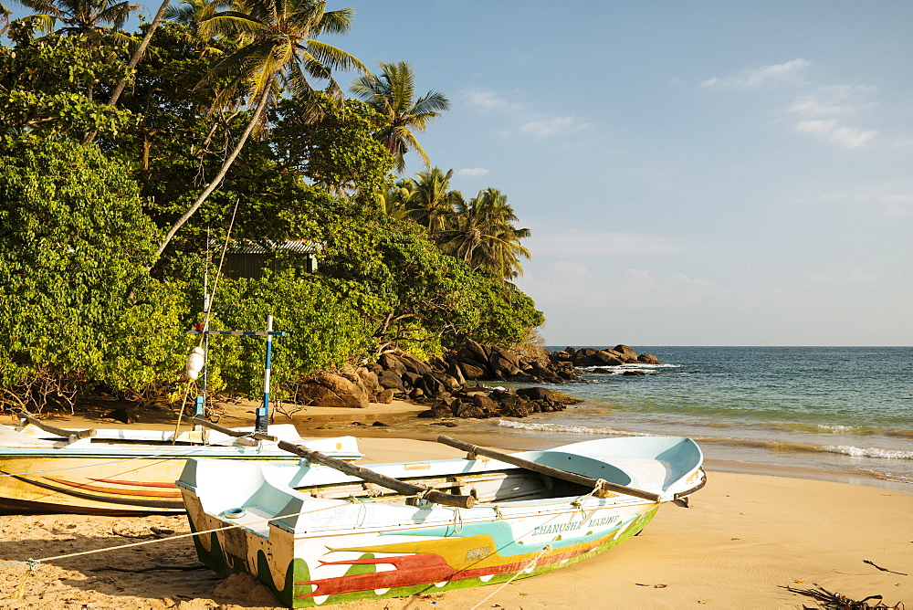 Fishing boats on Devinuwara Beach, Dondra, South Coast, Sri Lanka, Asia