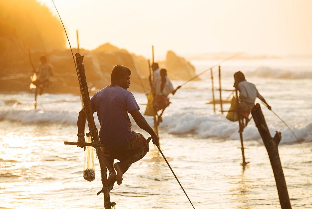 Stilt Fishermen at dawn, Weligama, South Coast, Sri Lanka, Asia - 848-1831